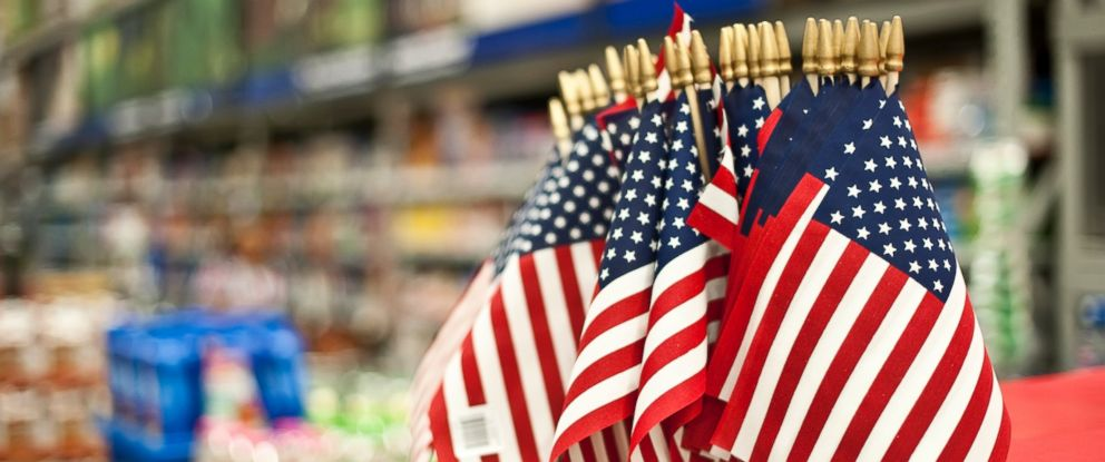 PHOTO: American flags are seen for sale in a store in this undated file photo.