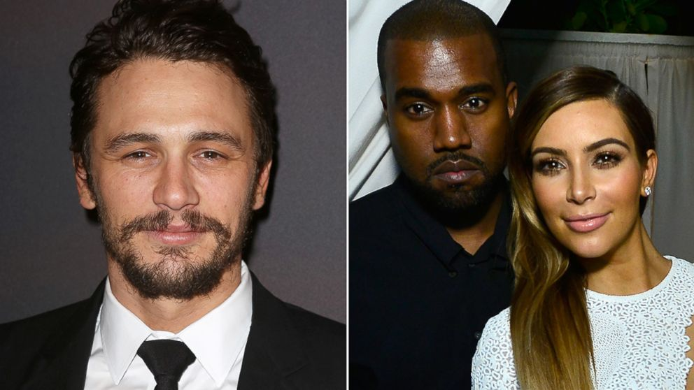 """James Franco, left, attends the after party for the Broadway opening night performance """"Of Mice and Men"""" at The Plaza Hotel, April 16, 2014, in New York City. Kanye West and Kim Kardashian attend DuJour Magazine's event to honor artist Marc Quinn at Delano South Beach Club, Dec. 4, 2013, in Miami Beach, Fla."""