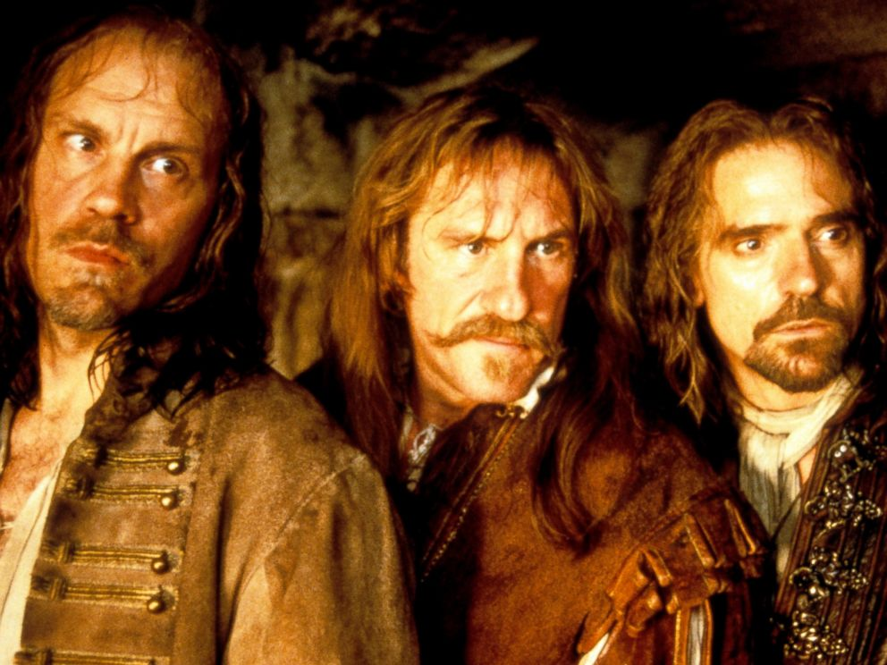 PHOTO: John Malkovich Gerard Depardieu and Jeremy Irons in a scene from the film The Man In The Iron Mask, 1998.