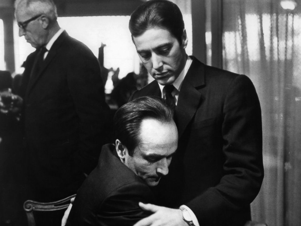 PHOTO: John Cazale holds his brother Al Pacino in a scene from the film The Godfather, Part II, 1974.