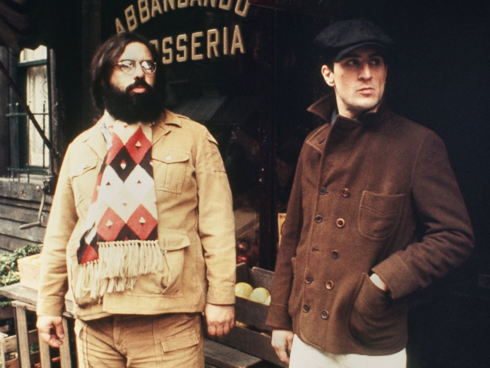 PHOTO: Director Francis Ford Coppola guides Robert De Niro in a scene in The Godfather Part II in 1974 in New York.