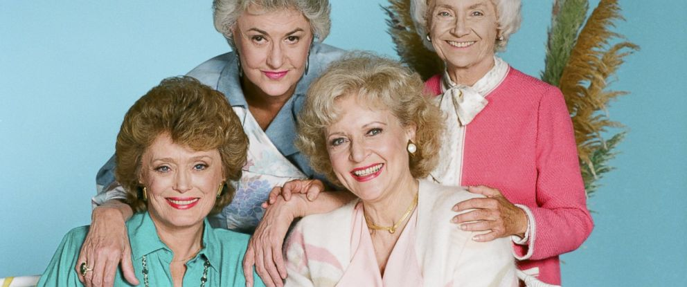 "PHOTO: From left, Rue McClanahan as Blanche Devereaux, Bea Arthur as Dorothy Petrillo Zbornak, Betty White as Rose Nylund, and Estelle Getty as Sophia Petrillo are pictured in this ""Golden Girls"" promo photo."
