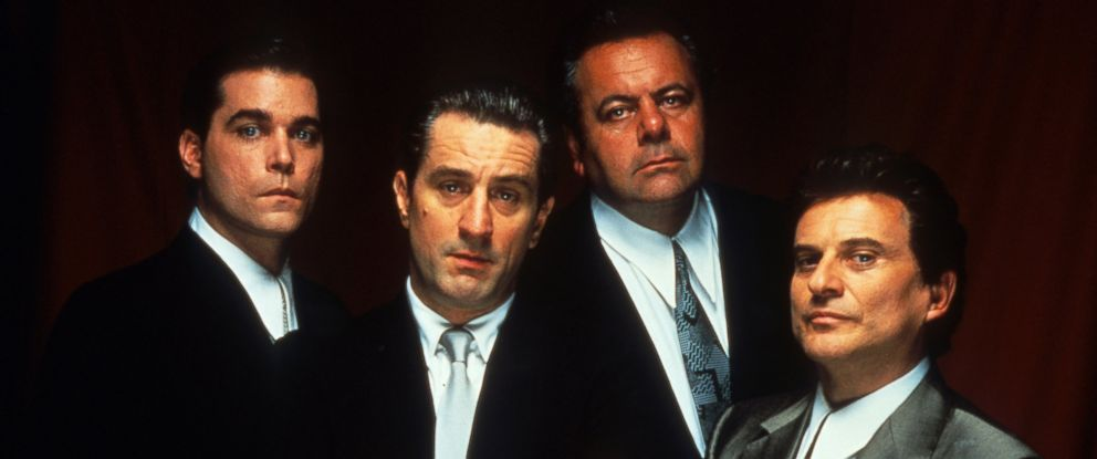 "PHOTO: Ray Liotta, Robert De Niro, Paul Sorvino, and Joe Pesci are seen in this publicity portrait for the film ""Goodfellas,"" 1990."