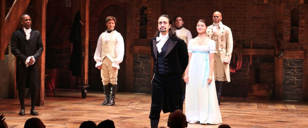 "PHOTO: Lin-Manuel Miranda with the cast during the Broadway opening night performance of ""Hamilton"" at the Richard Rodgers Theatre, Aug. 6, 2015 in New York City."