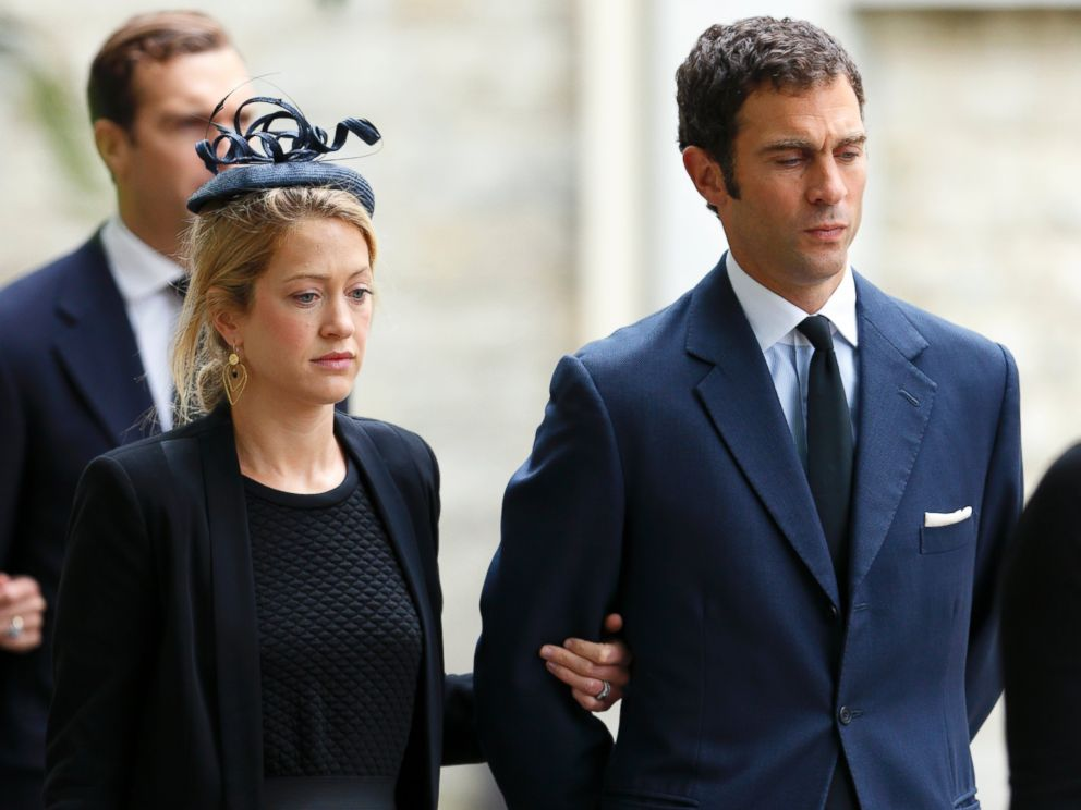 PHOTO: Hugh van Cutsem Jr. accompanied by his wife Rose van Cutsem attends a requiem mass for his father Hugh van Cutsem, who passed away on Sept. 2, 2013, at Brentwood Cathedral on Sept. 11, 2013 in Brentwood, England.