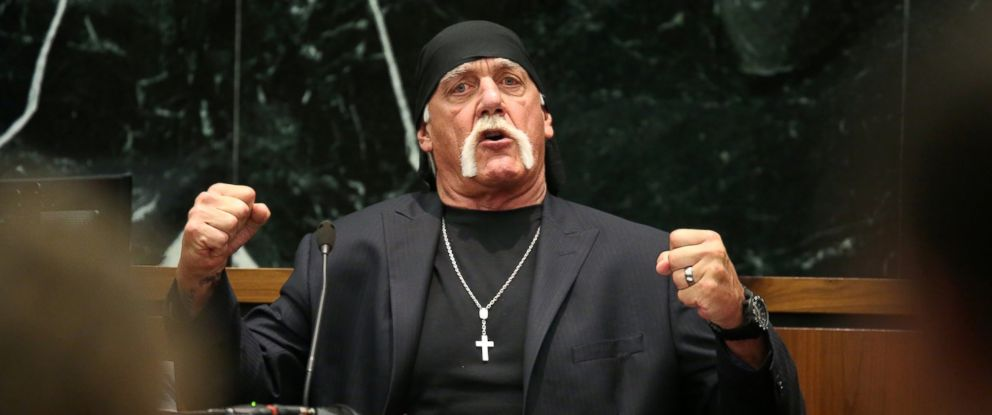 PHOTO: Terry Bollea, aka Hulk Hogan, testifies in court during his trial against Gawker Media at the Pinellas County Courthouse, March 8, 2016 in St Petersburg, Fla.