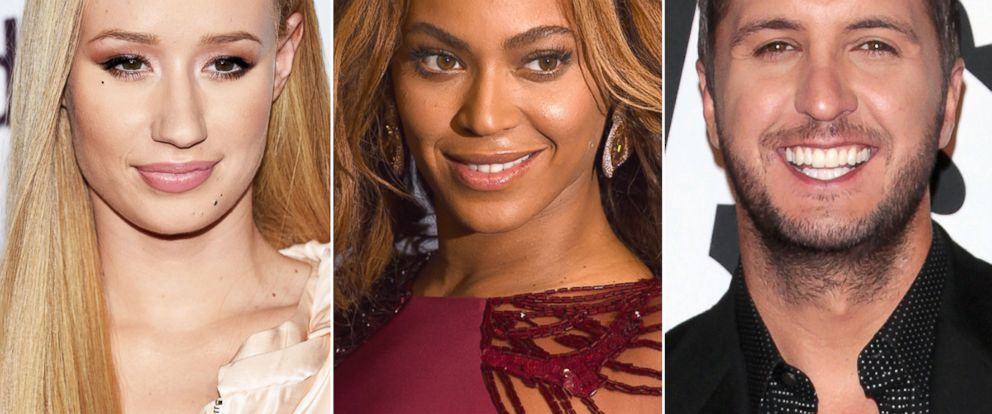 PHOTO: Iggy Azalea, Beyonce and country music singer Luke Bryan are among the nominees for the 2014 American Music Awards.