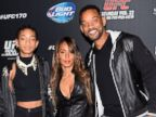 PHOTO: Left to right, singer/actress Willow Smith, actress/producer Jada Pinkett Smith and actor Will Smith attend the UFC 170 event on Feb. 22, 2014.