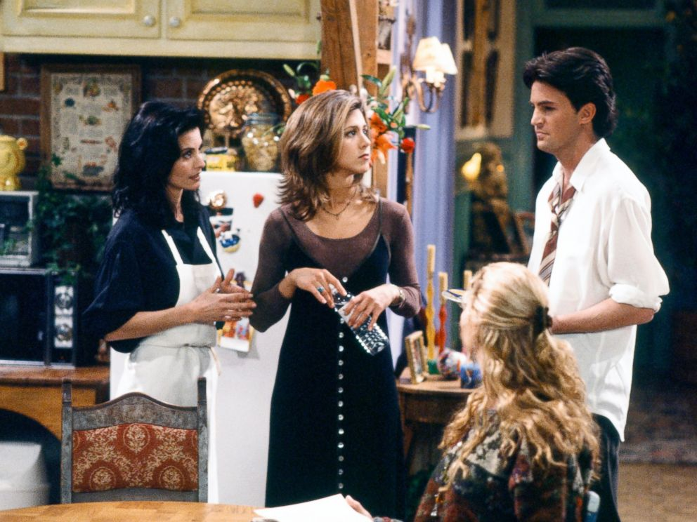 PHOTO: Courteney Cox as Monica Geller, left, Jennifer Aniston as Rachel Green, center, Matthew Perry as Chandler Bing in a scene from Friends.