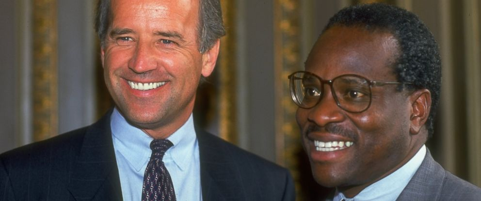 PHOTO: Senate Judiciary Committee Chairman Joseph Biden and Supreme Court Justice nominee Judge Clarence Thomas on Capitol Hill in Washington in 1991.
