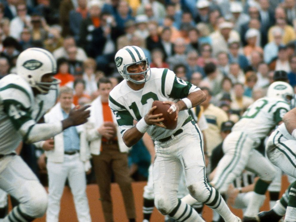 PHOTO: Joe Namath of the New York Jets drops back to pass against the Baltimore Colts during Super Bowl III at the Orange Bowl on Jan. 12, 1969 in Miami, Florida. The Jets defeated the Colts 16-7.