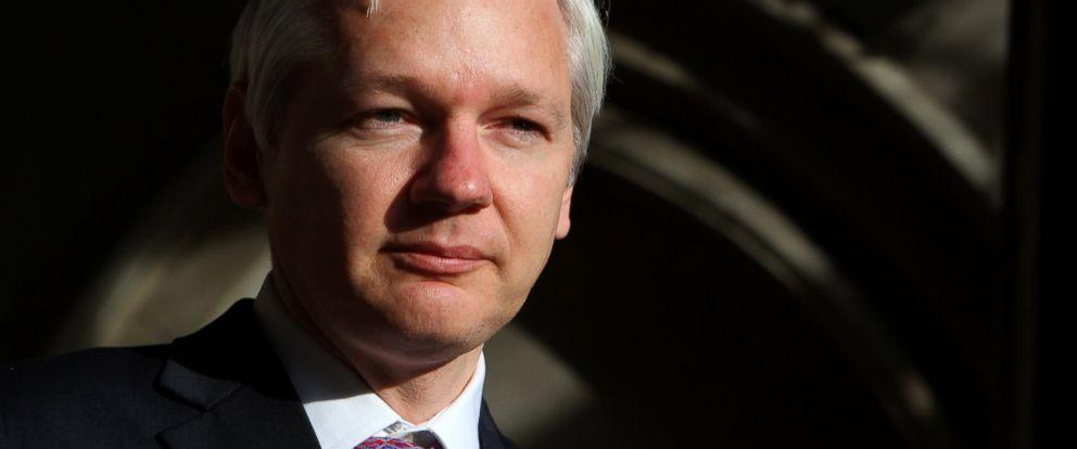 PHOTO: FILES - WikiLeaks founder Julian Assange speaks to the media outside the High Court in London