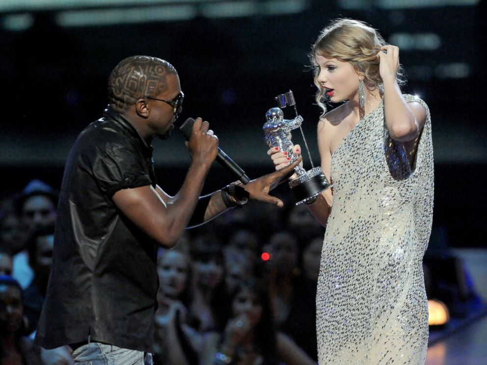 PHOTO: Kayne West jumps onstage as Taylor Swift accepts her award for the Best Female Video award during the 2009 MTV Video Music Awards at Radio City Music Hall, Sept. 13, 2009, in New York City.