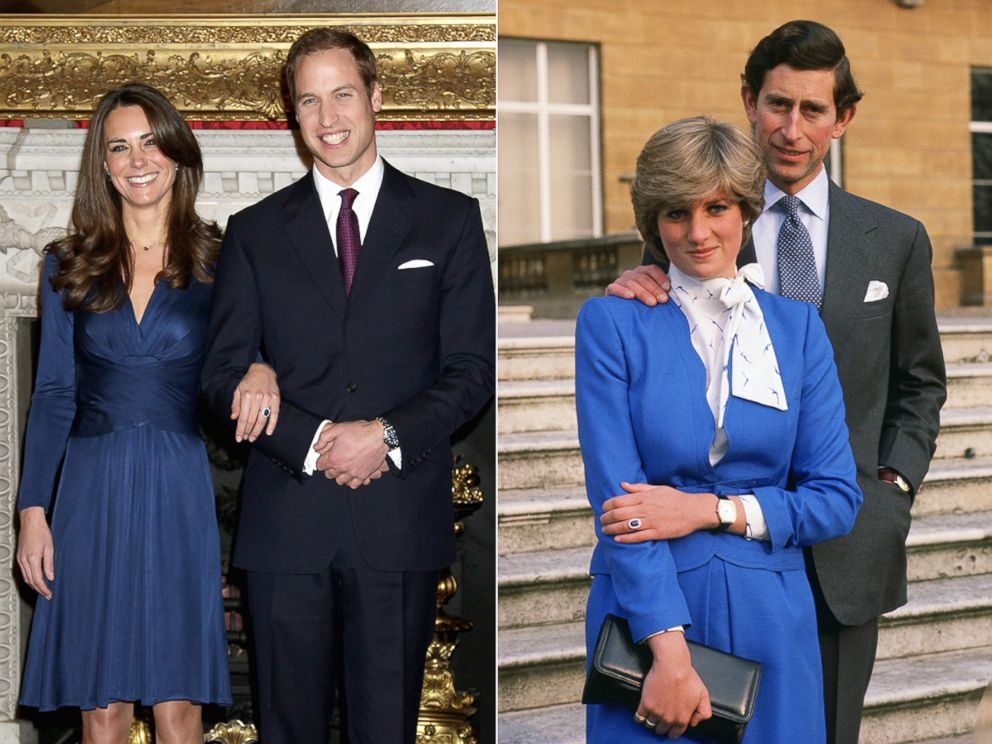 PHOTO: Kate Middleton and Princess Diana each pose in their official engagement photos.