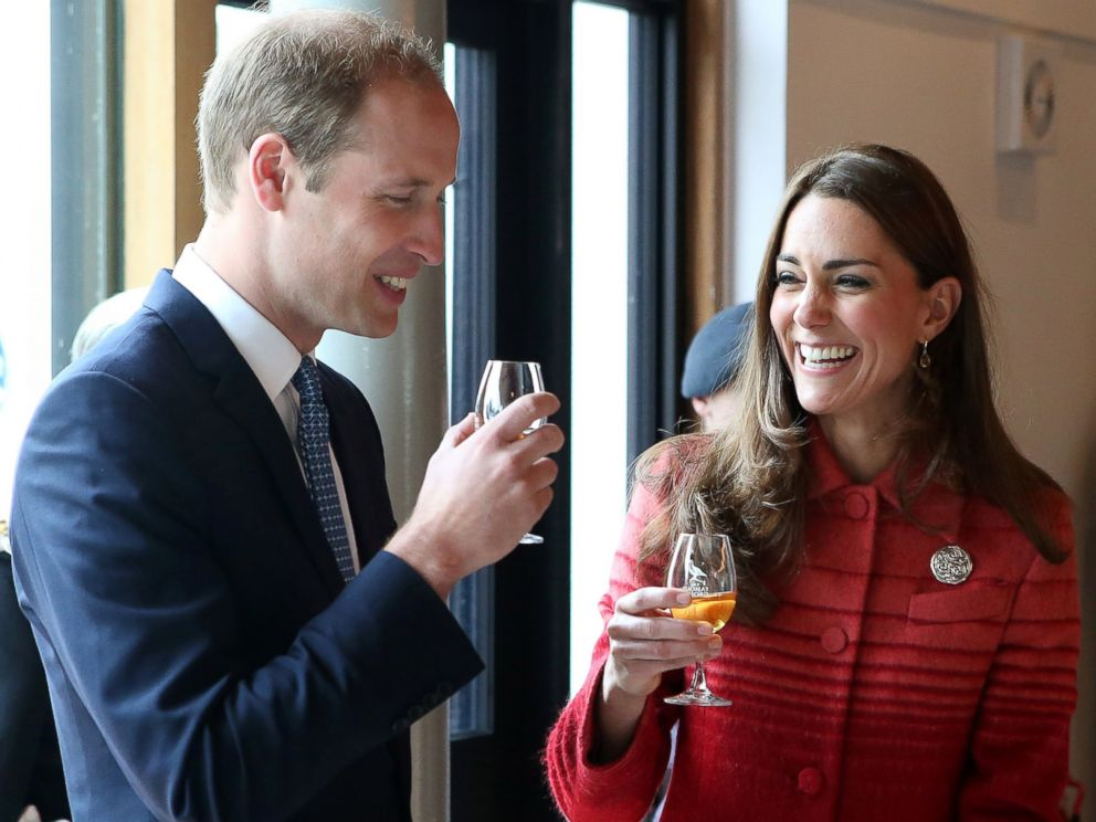 PHOTO: Catherine, Duchess of Cambridge and Prince William, Duke of Cambridge taste whisky during a tour of The Famous Grouse Distillery on May 29, 2014 in Crieff, Scotland.