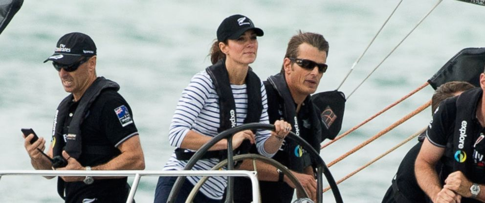 PHOTO: Kate Middleton races the New Zealands Americas Cup Team yacht during their visit to Auckland Harbour in this, April 11, 2014, file photo in Auckland, New Zealand.