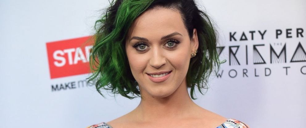 """PHOTO: Pop star Katy Perry poses on June 12, 2014 in Los Angeles, Calif., following an announcement where she is teaming up Staples to """"Make Roar Happen"""", celebrating and supporting teachers for a philanthropic effort during the back-to-school season."""