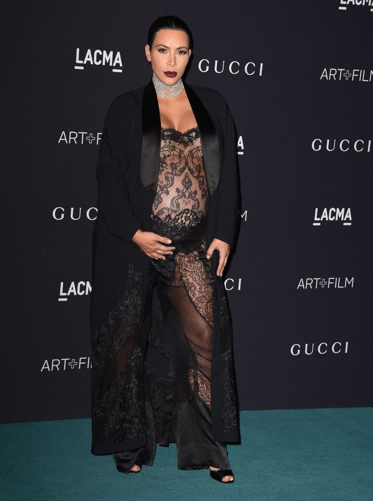 Pregnant Kim Kardashian Goes Sheer On The Red Carpet