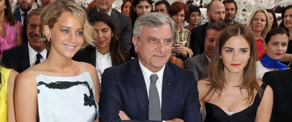 PHOTO: Jennifer Lawrence, Sidney Toledano and Emma Watson attend the Christian Dior show as part of Paris Fashion Week - Haute Couture Fall/Winter 2014-2015 at Muse Rodin, July 7, 2014, in Paris.