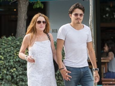 Lindsay Lohan Walks Hand in Hand with Her Beau in Spain