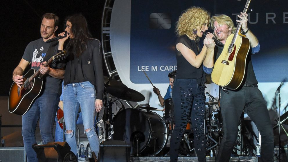 Members of the band Little Big Town, Jimi Westbrook, Karen Fairchild, Kimberly Schlapman and Phillip Sweet perform at the Capital One Orange Bowl, Dec. 31, 2014 in Miami Gardens, Fla.