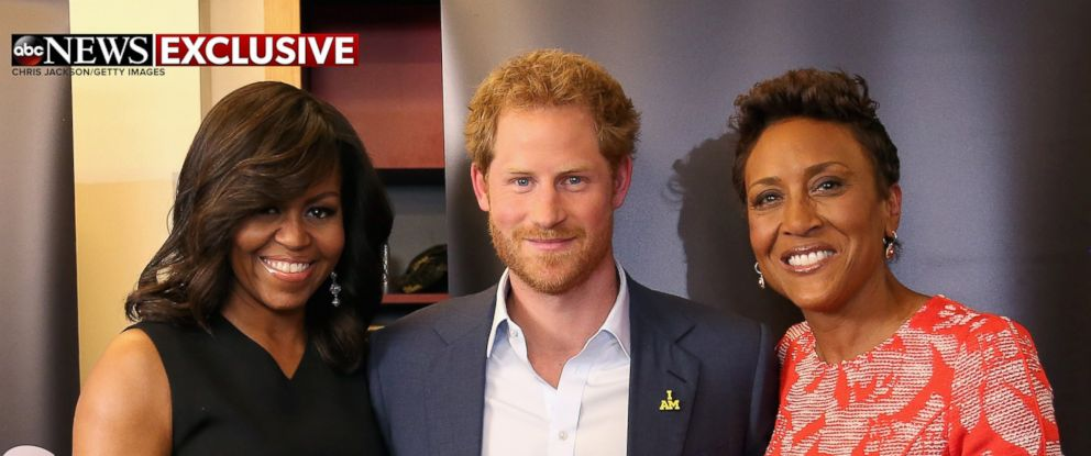 "PHOTO: First Lady Michelle Obama and Prince Harry spoke to ""Good Morning America"" co-anchor Robin Roberts about the Invictus Games in Orlando, Fla."