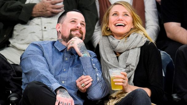 PHOTO: Benji Madden and Cameron Diaz attend a basketball game between the Washington Wizards and the Los Angeles Lakers at Staples Center, Jan. 27, 2015, in Los Angeles.