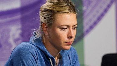 PHOTO: Maria Sharapova of Russia speaks to members of the media during a press conference on day three of the Wimbledon Lawn Tennis Championships at the All England Lawn Tennis and Croquet Club, June 26, 2013, in London.
