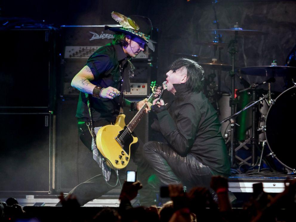 PHOTO: Johnny Depp and Marilyn Manson perform at the 4th Annual Revolver Golden God Awards at Club Nokia, April 11, 2012, in Los Angeles.