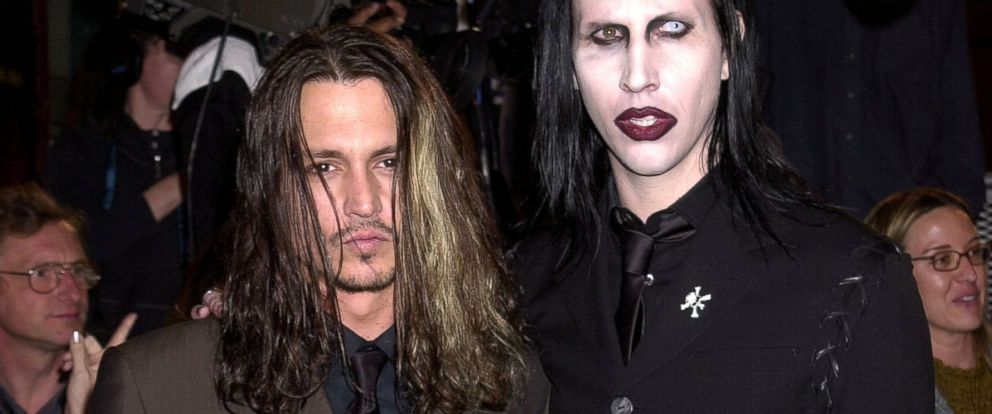 "Johnny Depp and Marilyn Manson during ""Blow"" Los Angeles Premiere at Chinese Theatre in Hollywood, Calif., March 29, 2001."