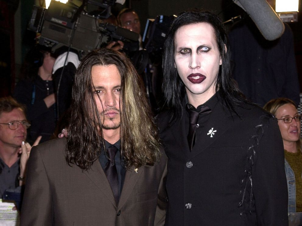 Johnny Depp and Marilyn Manson during Blow Los Angeles Premiere at Chinese Theatre in Hollywood, Calif., March 29, 2001.