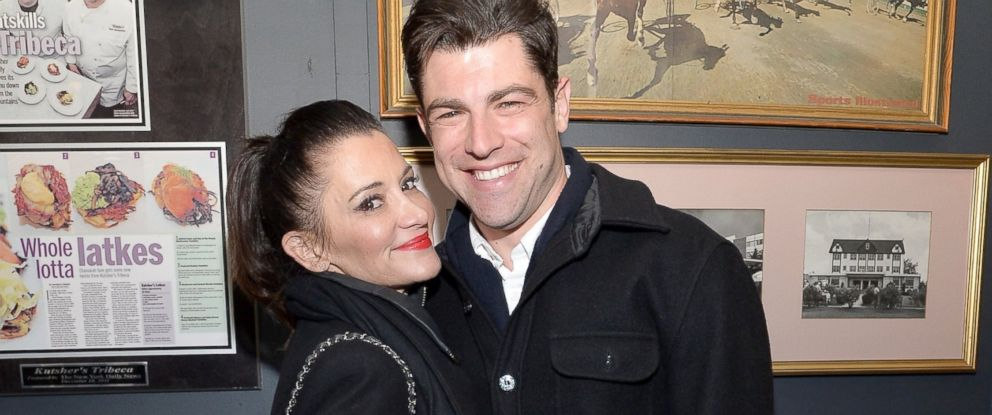 "PHOTO: Max Greenfield and Tess Sanchez attend the ""About Alex"" Premiere after party during the 2014 Tribeca Film Festival at Kutshers Tribeca, April 17, 2014, in New York City."
