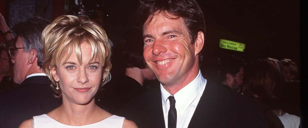 """PHOTO: Meg Ryan and Dennis Quaid attend the """"French Kiss"""" Los Angeles premiere in this May 1, 1995 file photo."""