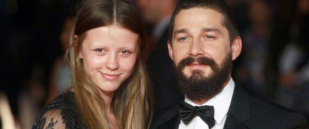 """PHOTO: Mia Goth and Shia LeBeouf attend the """"Fury"""" closing night gala at Odeon Leicester Square, Oct. 19, 2014, in London."""