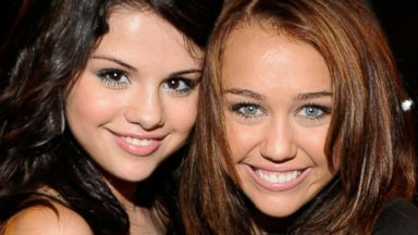 PHOTO: Selena Gomez and Miley Cyrus during the 2008 Teen Choice Awards at Gibson Amphitheater, Aug. 3, 2008, in Los Angeles.