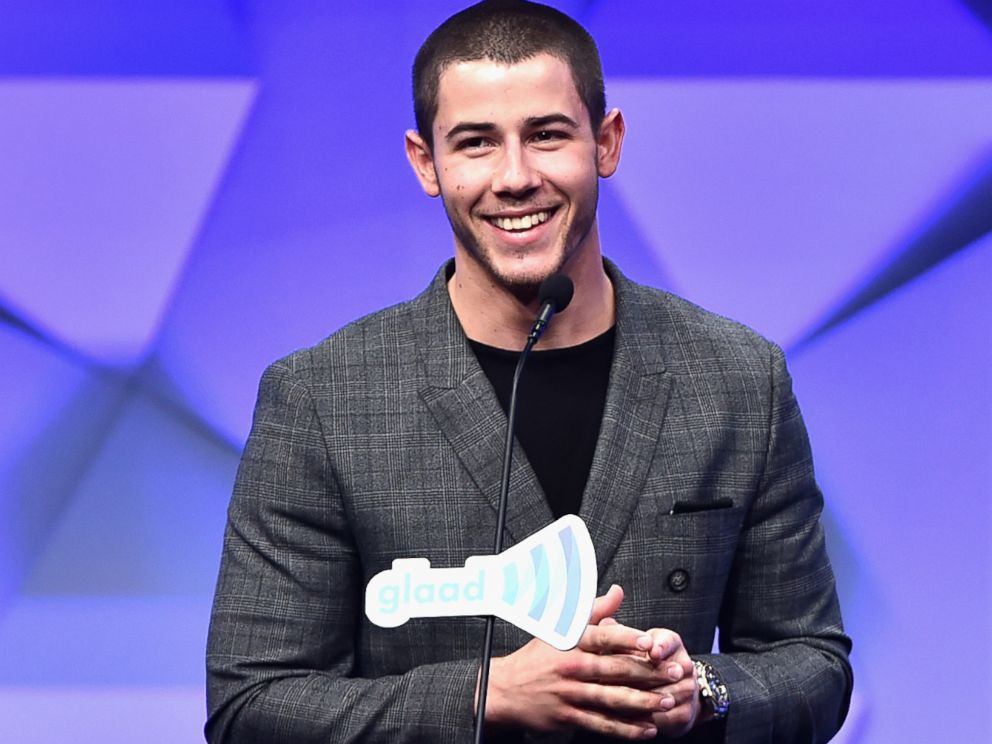 PHOTO: Nick Jonas presents the Vanguard Award onstage during the 27th Annual GLAAD Media Awards at the Beverly Hilton Hotel, April 2, 2016 in Beverly Hills, Calif.