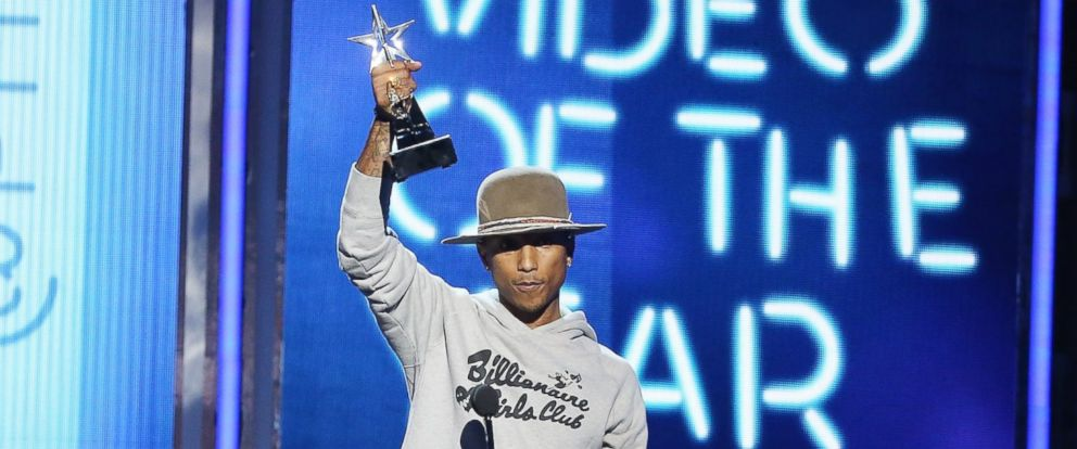 """PHOTO: Pharrell Williams speaks onstage during the """"BET AWARDS"""" 14 held at Nokia Theater L.A. LIVE, June 29, 2014, in Los Angeles."""