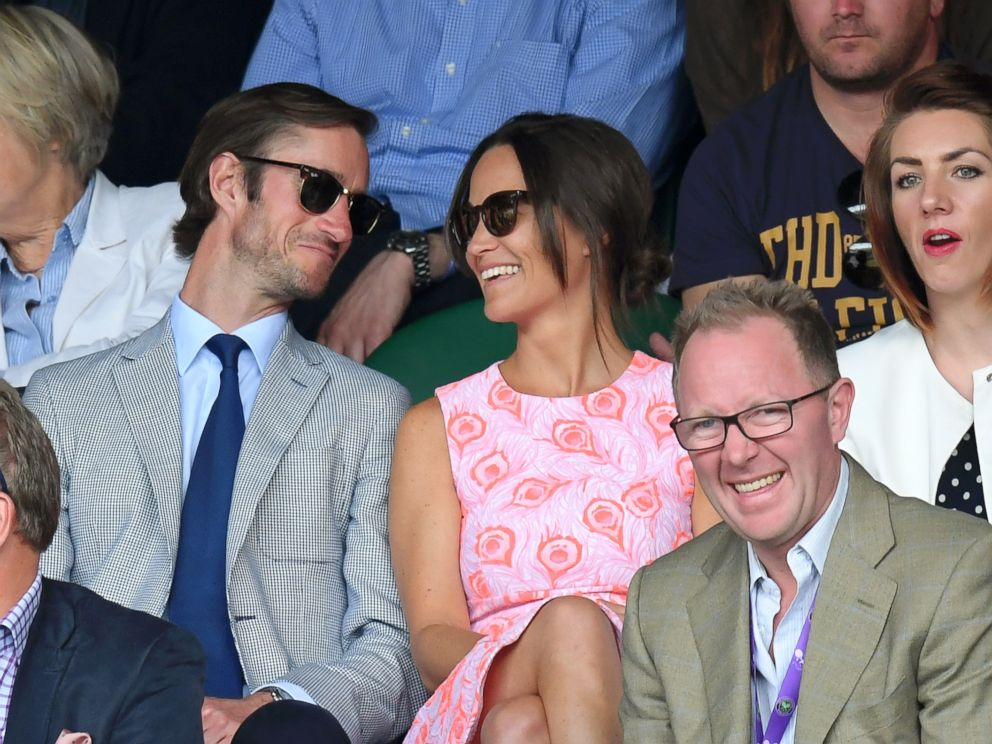 PHOTO: Pippa Middleton and James Matthews attend day nine of the Wimbledon Tennis Championships at Wimbledon July 6, 2016 in London.