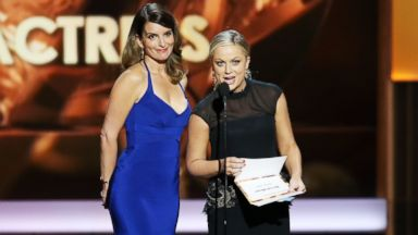 PHOTO: In this file photo, Tina Fey, left, and Amy Poehler, right, speak onstage during the 65th Annual Primetime Emmy Awards on Sept. 22, 2013 in Los Angeles.