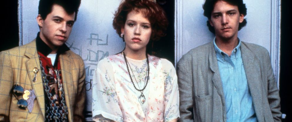 """PHOTO: Jon Cryer, Molly Ringwald and Andrew McCarthy on set of the film """"Pretty In Pink."""""""