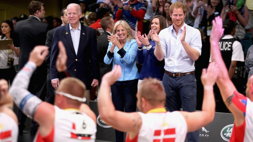 Jill Biden, Joe Biden and Prince Harry watch the USA and Denmark Wheelchair Rugby teams in the wheelchair rugby finals at the Invictus Games Orlando 2016, May 11, 2016, in Orlando, Fla.