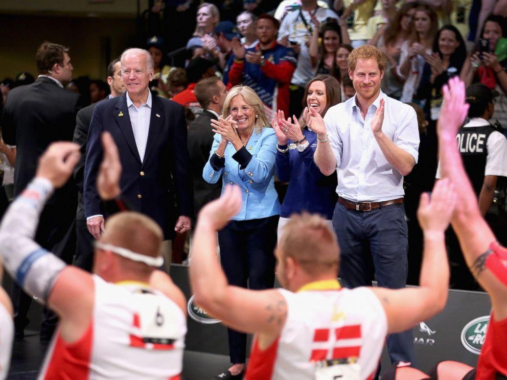 PHOTO:Jill Biden, Joe Biden and Prince Harry watch the USA and Denmark Wheelchair Rugby teams in the wheelchair rugby finals at the Invictus Games Orlando 2016, May 11, 2016, in Orlando, Fla.