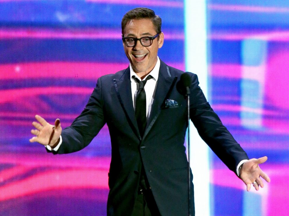 PHOTO: Robert Downey Jr. speaks onstage during the 2015 Jaguar Land Rover British Academy Britannia Awards presented by American Airlines at The Beverly Hilton Hotel, Oct. 30, 2015 in Beverly Hills, Calif.