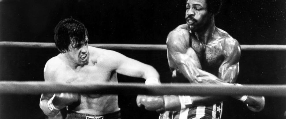"""PHOTO: Sylvester Stallone boxes with Carl Weathers in a scene from """"Rocky."""""""