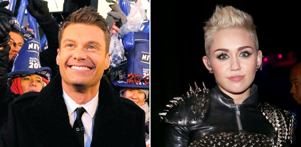 """PHOTO: Ryan Seacrest at Dick Clarks New Years Rockin Eve with Ryan Seacrest 2011 in Times Square on Dec. 31, 2010 in New York. Miley Cyrus attends """"VH1 Divas"""" 2012 on Dec. 16, 2012 in Los Angeles."""