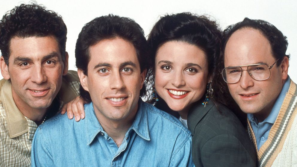 From left to right, Michael Richards as Cosmo Kramer, Jerry Seinfeld as Jerry Seinfeld, Julia Louis-Dreyfus as Elaine Benes, Jason Alexander as George Costanza are seen in this undated image.