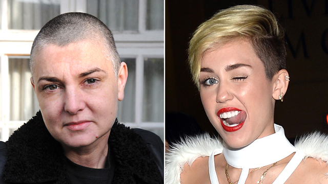"""PHOTO:Miley Cyrus' video for the song """"Wrecking Ball"""" was inspired by Sinead O'Connor."""