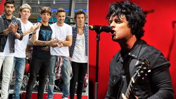 PHOTO: One Direction, left, and Billy Joe Armstrong.
