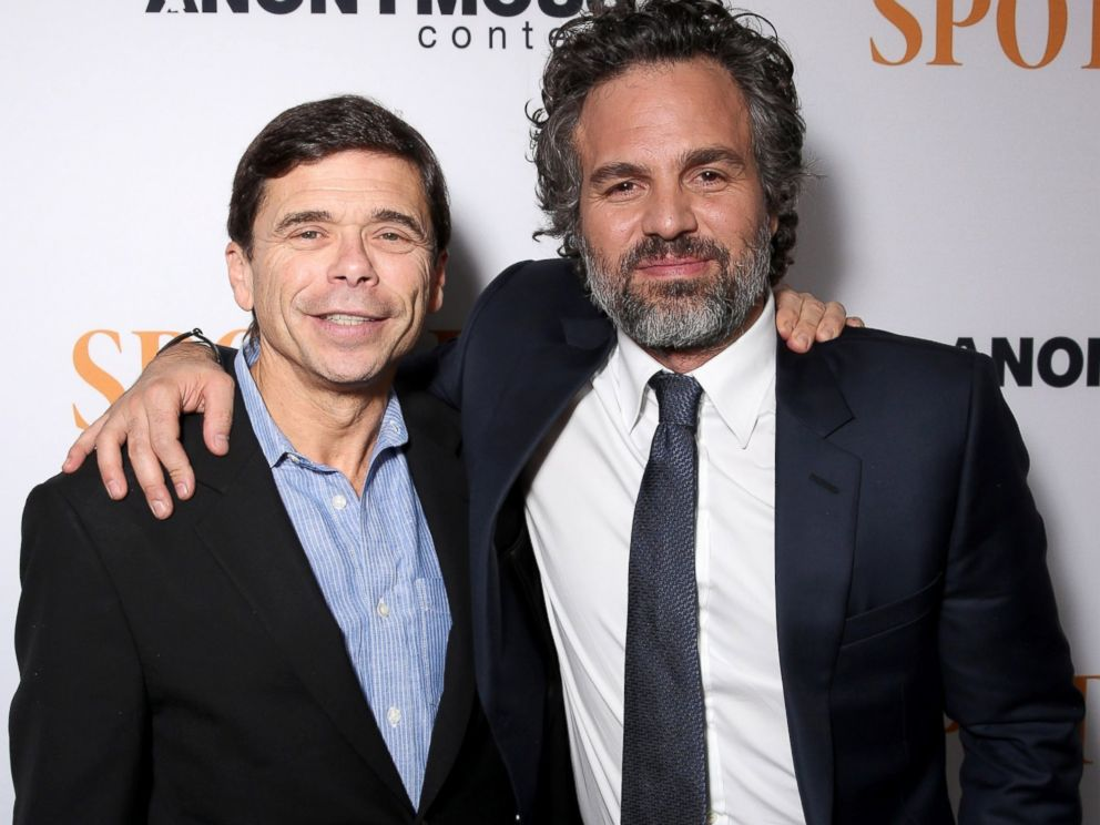 PHOTO: Michael Rezendes and Mark Ruffalo attend the screening of Open Roads Films Spotlight, Nov. 3, 2015, in Los Angeles.