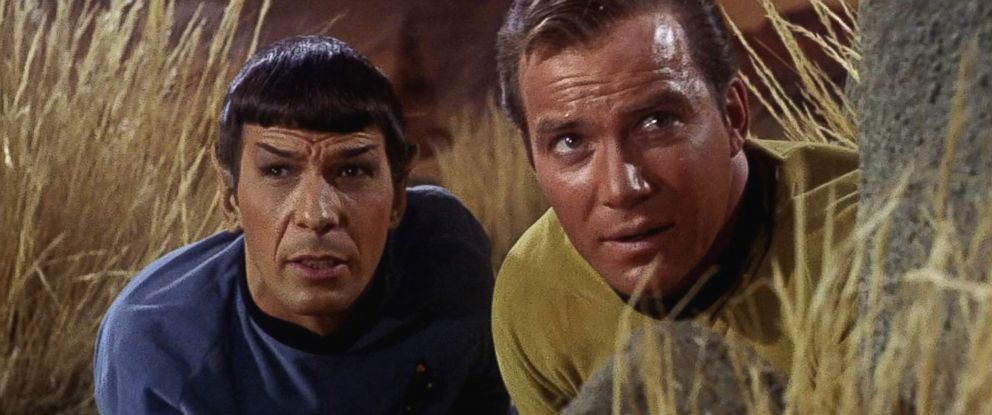 PHOTO: Leonard Nimoy as Mr. Spock and William Shatner as Captain James T. Kirk appear in a scene from The Man Trap, the premiere episode of Star Trek, which aired on September 8, 1966